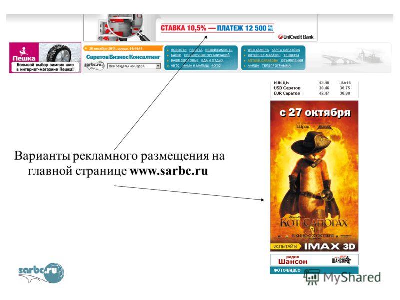 Варианты рекламного размещения на главной странице www.sarbc.ru