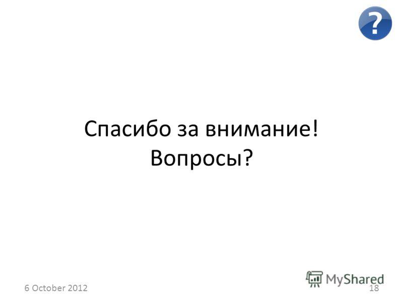 14 August 201218 Спасибо за внимание! Вопросы?