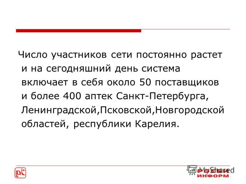 Число участников сети постоянно растет и на сегодняшний день система включает в себя около 50 поставщиков и более 400 аптек Санкт-Петербурга, Ленинградской,Псковской,Новгородской областей, республики Карелия.