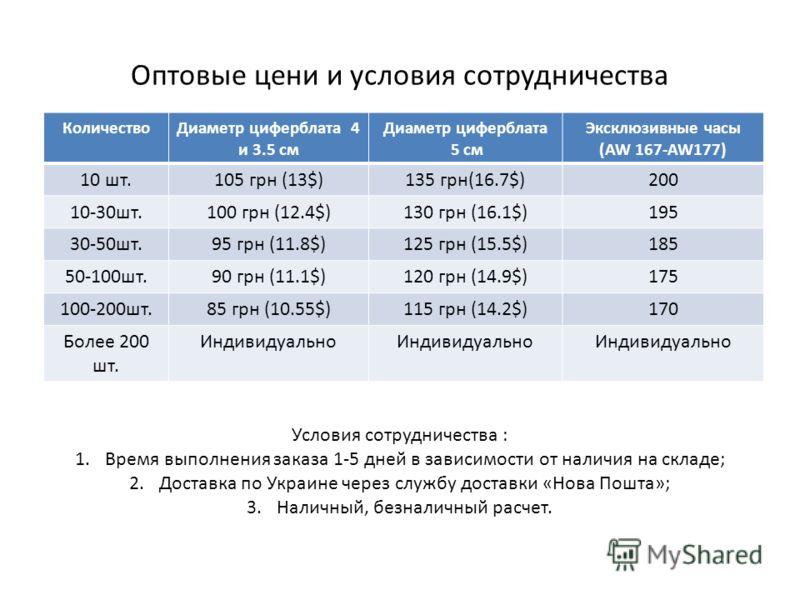 Оптовые цени и условия сотрудничества КоличествоДиаметр циферблата 4 и 3.5 см Диаметр циферблата 5 см Эксклюзивные часы (AW 167-AW177) 10 шт.105 грн (13$)135 грн(16.7$)200 10-30шт.100 грн (12.4$)130 грн (16.1$)195 30-50шт.95 грн (11.8$)125 грн (15.5$