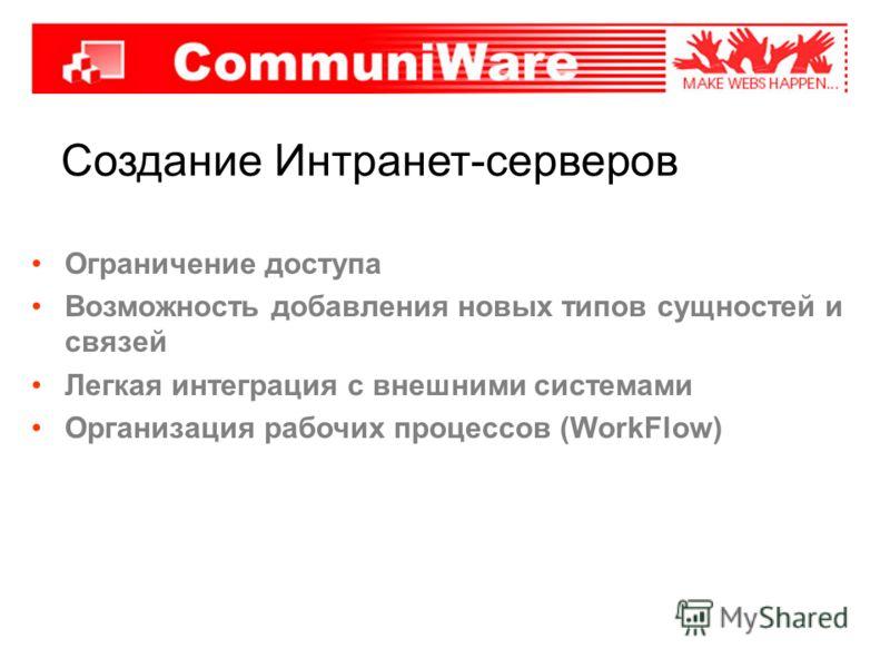 Создание Интранет-серверов Ограничение доступа Возможность добавления новых типов сущностей и связей Легкая интеграция с внешними системами Организация рабочих процессов (WorkFlow)