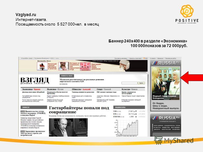 Vzglyad.ru Интернет-газета. Посещаемость около 5 527 000чел. в месяц Баннер 240х400 в разделе «Экономика» 100 000показов за 72 000руб.