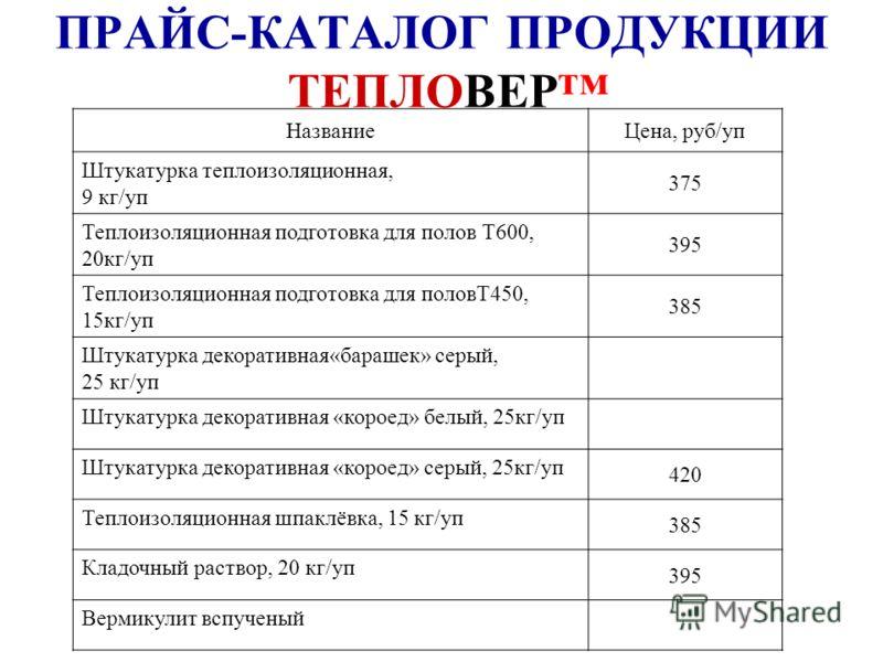 ПРАЙС-КАТАЛОГ ПРОДУКЦИИ ТЕПЛОВЕР НазваниеЦена, руб/уп Штукатурка теплоизоляционная, 9 кг/уп 375 Теплоизоляционная подготовка для полов Т600, 20кг/уп 395 Теплоизоляционная подготовка для половТ450, 15кг/уп 385 Штукатурка декоративная«барашек» серый, 2