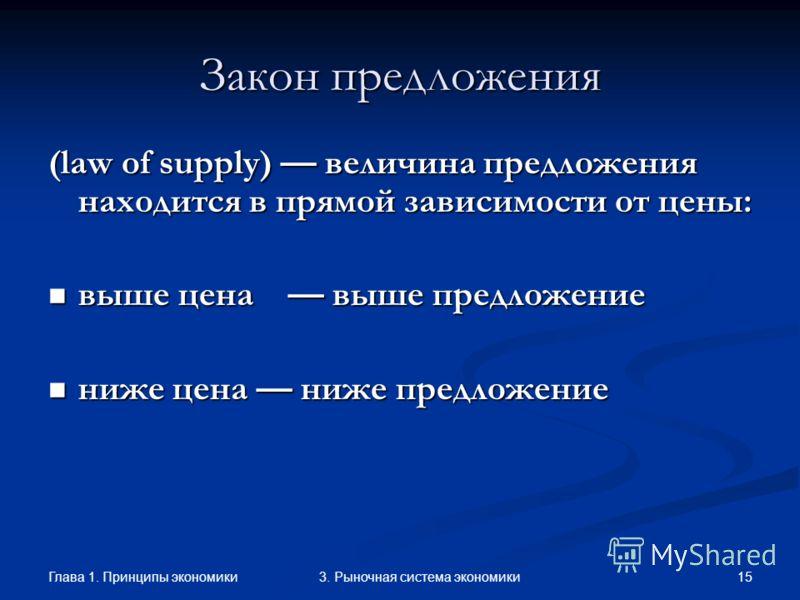 Глава 1. Принципы экономики 143. Рыночная система экономики Закон предложения (law of supply) величина предложения находится в прямой зависимости от цены: выше цена выше предложение выше цена выше предложение ниже цена ниже предложение ниже цена ниже