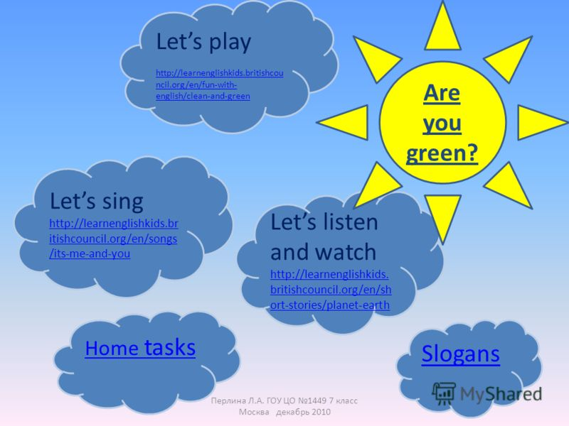 Lets play http://learnenglishkids.britishcou ncil.org/en/fun-with- english/clean-and-green Lets sing http://learnenglishkids.br itishcouncil.org/en/songs /its-me-and-you Lets listen and watch http://learnenglishkids. britishcouncil.org/en/sh ort-stor
