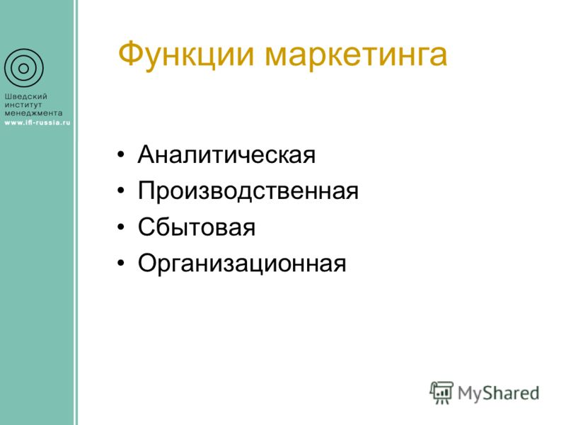 Функции маркетинга Аналитическая Производственная Сбытовая Организационная
