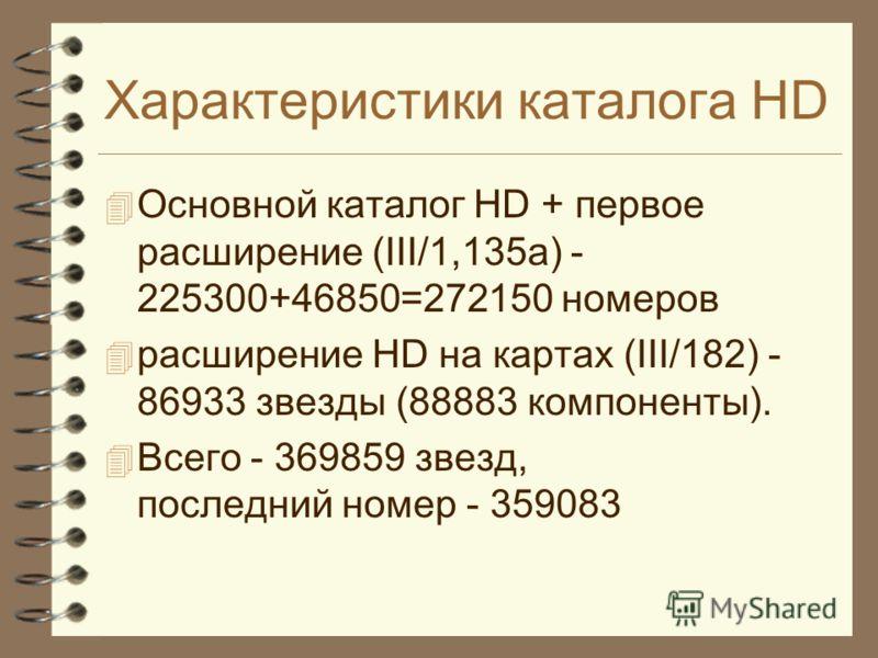 Характеристики каталога HD Основной каталог HD + первое расширение (III/1,135a) - 225300+46850=272150 номеров расширение HD на картах (III/182) - 86933 звезды (88883 компоненты). Всего - 369859 звезд, последний номер - 359083