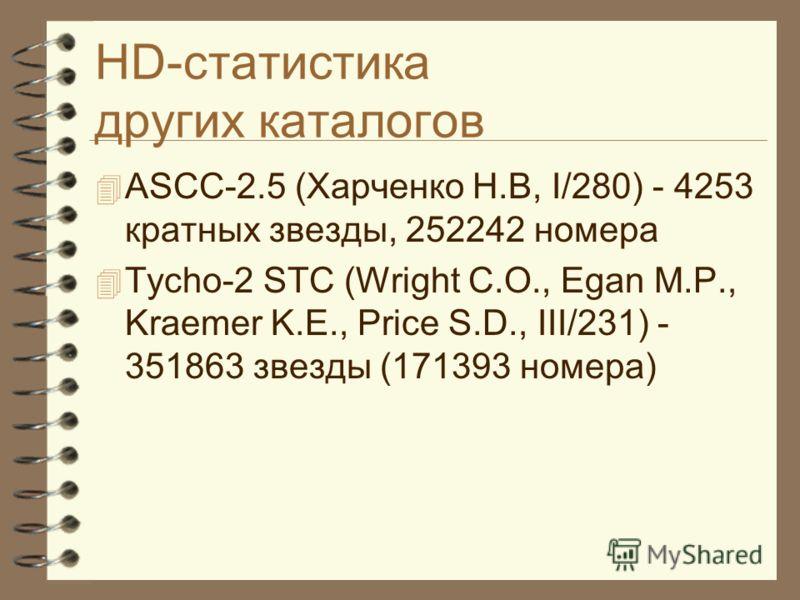 HD-статистика других каталогов ASCC-2.5 (Харченко Н.В, I/280) - 4253 кратных звезды, 252242 номера Tycho-2 STC (Wright C.O., Egan M.P., Kraemer K.E., Price S.D., III/231) - 351863 звезды (171393 номера)