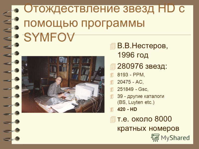 Отождествление звезд HD с помощью программы SYMFOV В.В.Нестеров, 1996 год 280976 звезд: 8193 - PPM, 20475 - AC, 251849 - Gsc, 39 - другие каталоги (BS, Luyten etc.) 420 - HD т.е. около 8000 кратных номеров