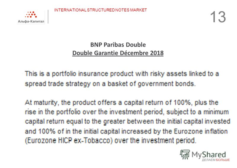 13 INTERNATIONAL STRUCTURED NOTES MARKET BNP Paribas Double Double Garantie Décembre 2018