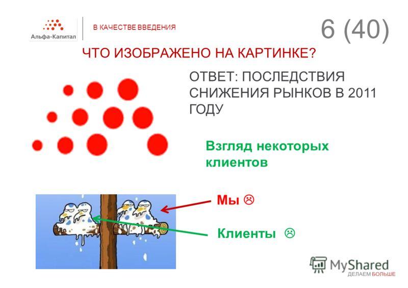 В КАЧЕСТВЕ ВВЕДЕНИЯ ЧТО ИЗОБРАЖЕНО НА КАРТИНКЕ? ОТВЕТ: ПОСЛЕДСТВИЯ СНИЖЕНИЯ РЫНКОВ В 2011 ГОДУ Мы Взгляд некоторых клиентов Клиенты 6 (40)