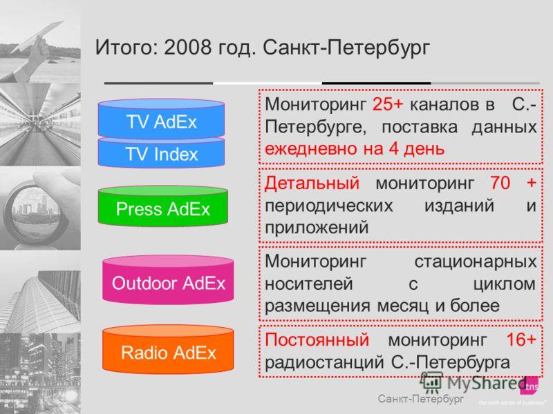 Итого: 2008 год. Санкт-Петербург Санкт-Петербург TV Index TV AdEx Мониторинг 25+ каналов в С.- Петербурге, поставка данных ежедневно на 4 день Press AdEx Детальный мониторинг 70 + периодических изданий и приложений Outdoor AdEx Мониторинг стационарны