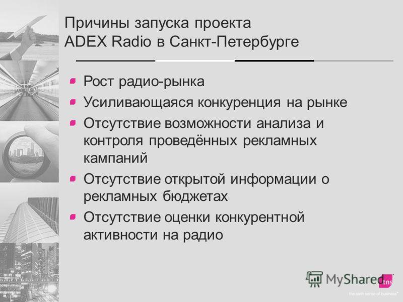 Причины запуска проекта ADEX Radio в Санкт-Петербурге Рост радио-рынка Усиливающаяся конкуренция на рынке Отсутствие возможности анализа и контроля проведённых рекламных кампаний Отсутствие открытой информации о рекламных бюджетах Отсутствие оценки к