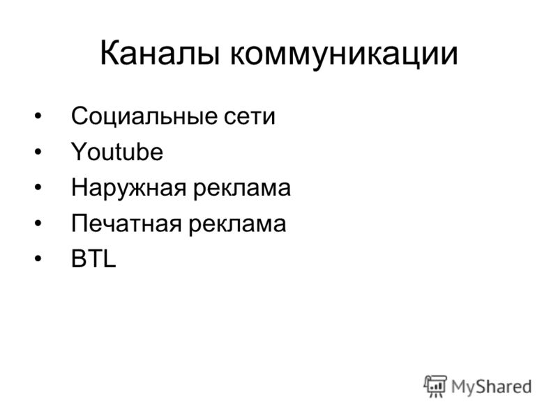 Каналы коммуникации Социальные сети Youtube Наружная реклама Печатная реклама BTL