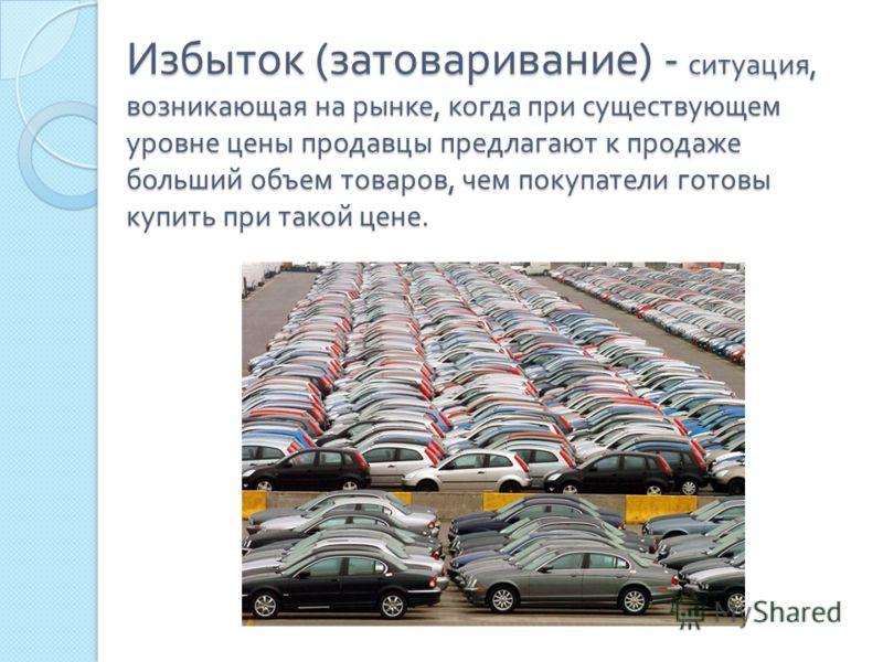 Избыток ( затоваривание ) - ситуация, возникающая на рынке, когда при существующем уровне цены продавцы предлагают к продаже больший объем товаров, чем покупатели готовы купить при такой цене.