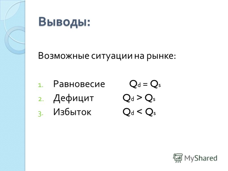 Выводы : Возможные ситуации на рынке : 1. Равновесие Q d = Q s 2. Дефицит Q d > Q s 3. Избыток Q d < Q s