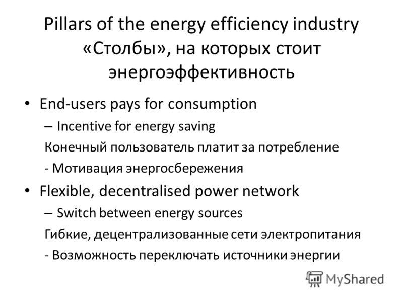 Pillars of the energy efficiency industry «Столбы», на которых стоит энергоэффективность End-users pays for consumption – Incentive for energy saving Конечный пользователь платит за потребление - Мотивация энергосбережения Flexible, decentralised pow
