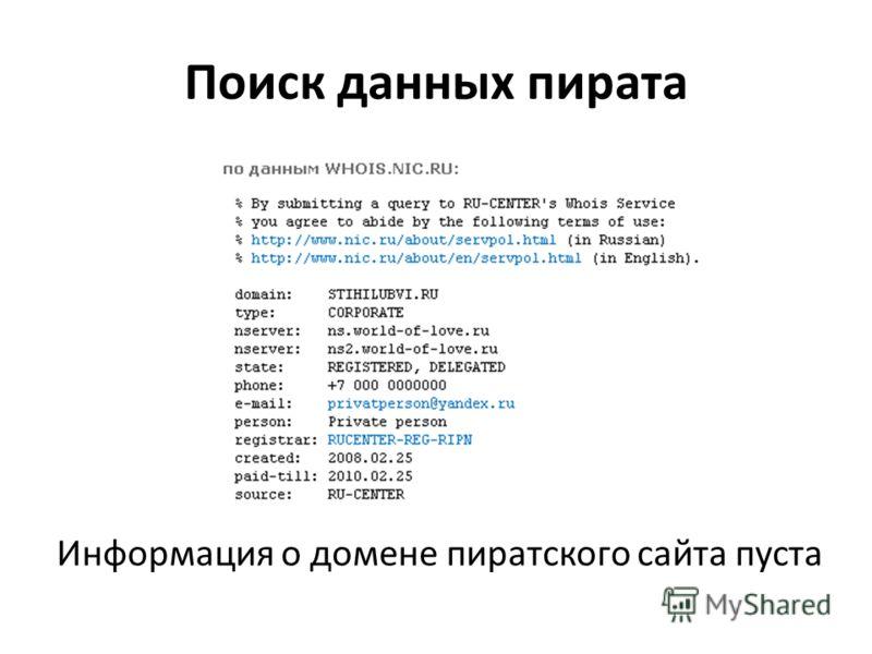 Поиск данных пирата Информация о домене пиратского сайта пуста