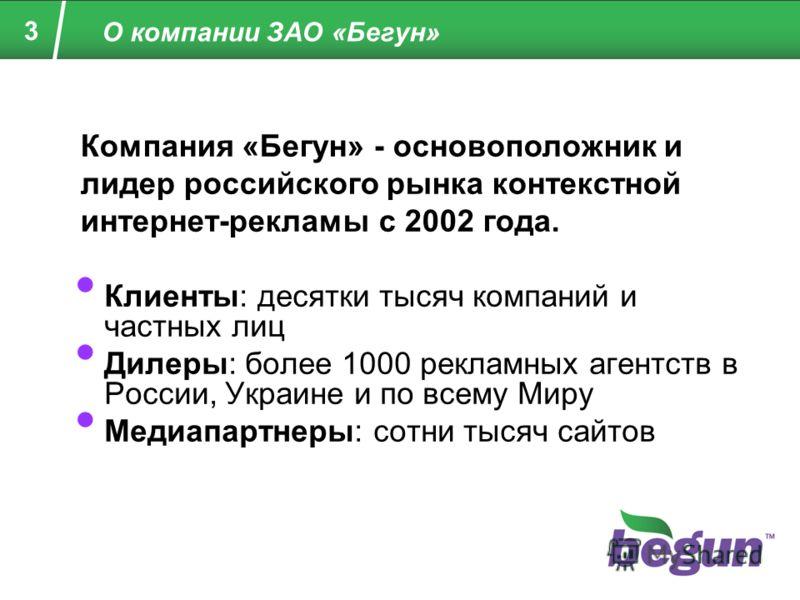 3 О компании ЗАО «Бегун» Клиенты: десятки тысяч компаний и частных лиц Дилеры: более 1000 рекламных агентств в России, Украине и по всему Миру Медиапартнеры: сотни тысяч сайтов Компания «Бегун» - основоположник и лидер российского рынка контекстной и