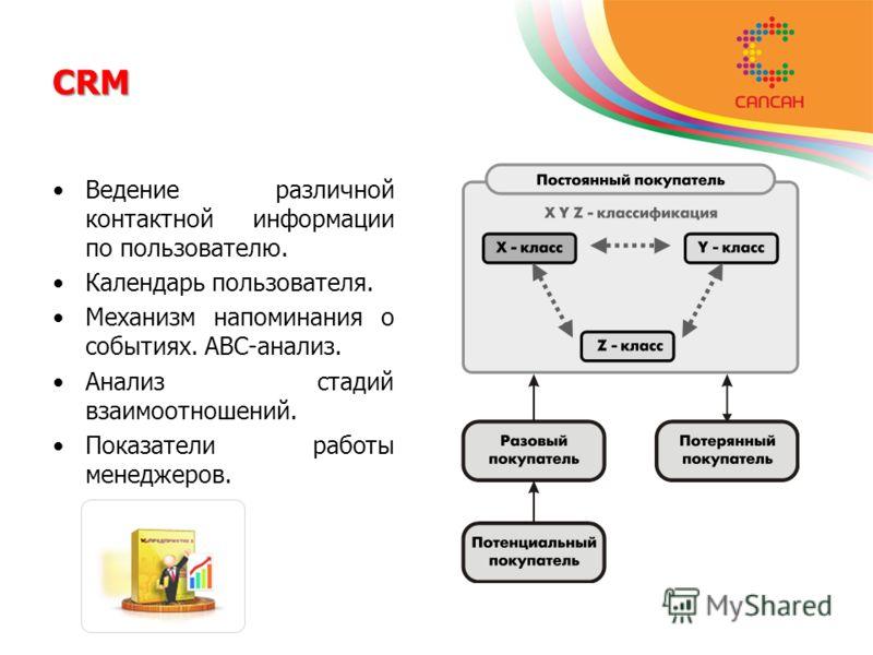 CRM Ведение различной контактной информации по пользователю. Календарь пользователя. Механизм напоминания о событиях. АВС-анализ. Анализ стадий взаимоотношений. Показатели работы менеджеров.