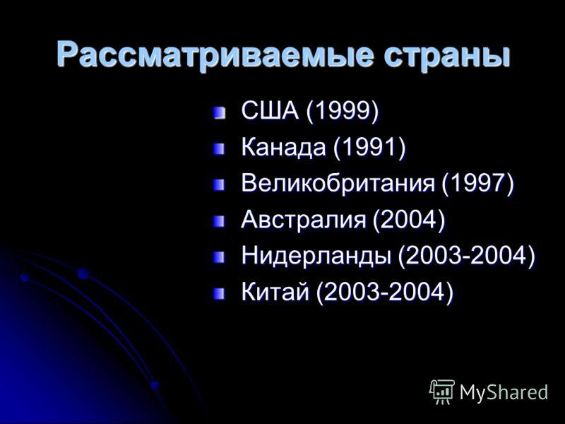 Рассматриваемые страны США (1999) США (1999) Канада (1991) Канада (1991) Великобритания (1997) Великобритания (1997) Австралия (2004) Австралия (2004) Нидерланды (2003-2004) Нидерланды (2003-2004) Китай (2003-2004) Китай (2003-2004)