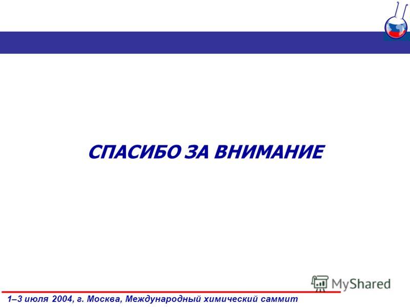1–3 июля 2004, г. Москва, Международный химический саммит СПАСИБО ЗА ВНИМАНИЕ