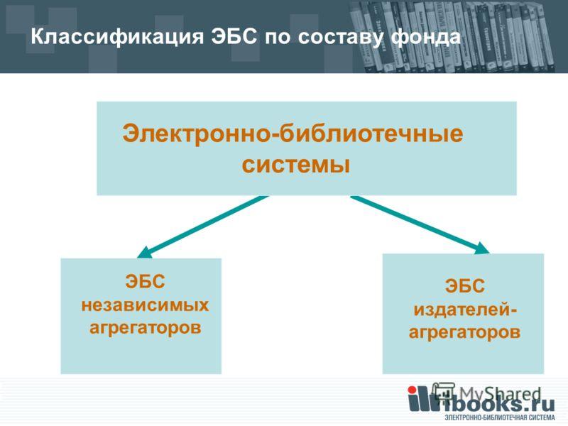 Классификация ЭБС по составу фонда ЭБС независимых агрегаторов Электронно-библиотечные системы ЭБС издателей- агрегаторов