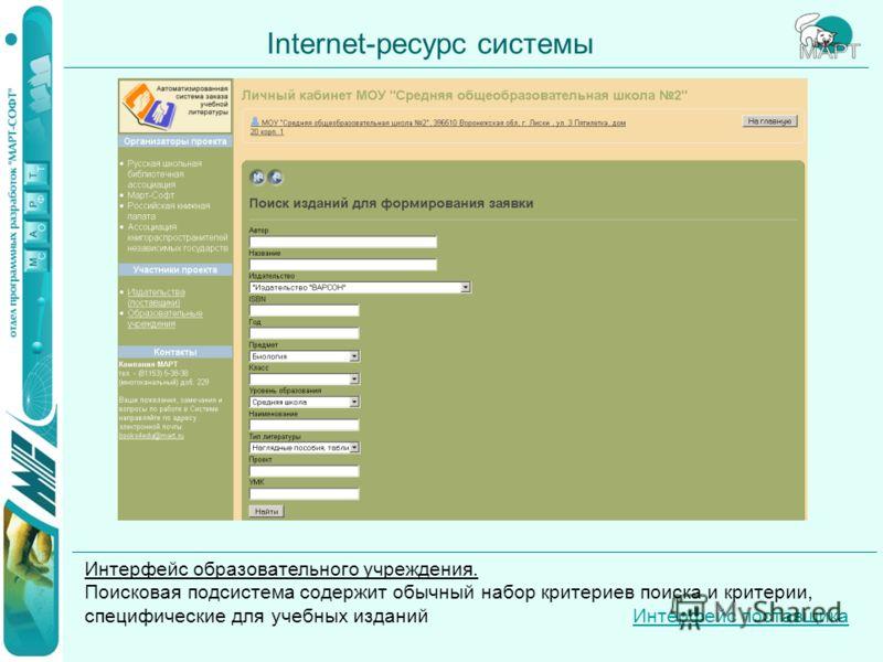 Internet-ресурс системы Интерфейс образовательного учреждения. Поисковая подсистема содержит обычный набор критериев поиска и критерии, специфические для учебных изданий Интерфейс поставщикаИнтерфейс поставщика