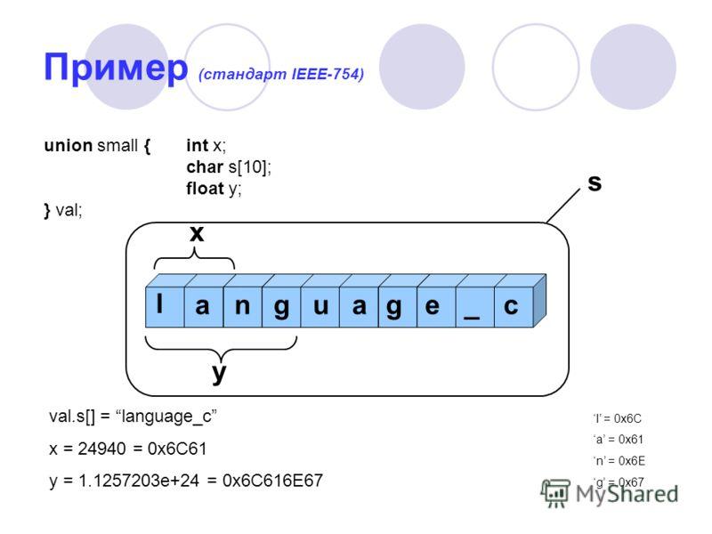 Пример (стандарт IEEE-754) union small {int x; char s[10]; float y; } val; х y l anguage_c val.s[] = language_c x = 24940 = 0x6C61 y = 1.1257203e+24 = 0x6C616E67 s l = 0x6C a = 0x61 n = 0x6E g = 0x67