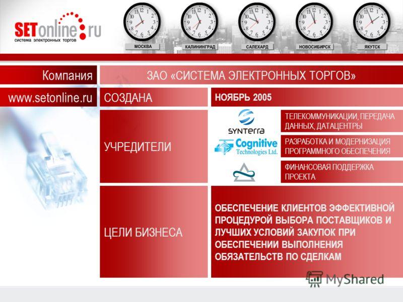 Компания ЗАО «СИСТЕМА ЭЛЕКТРОННЫХ ТОРГОВ» СОЗДАНА НОЯБРЬ 2005 УЧРЕДИТЕЛИ ТЕЛЕКОММУНИКАЦИИ, ПЕРЕДАЧА ДАННЫХ, ДАТАЦЕНТРЫ РАЗРАБОТКА И МОДЕРНИЗАЦИЯ ПРОГРАММНОГО ОБЕСПЕЧЕНИЯ ФИНАНСОВАЯ ПОДДЕРЖКА ПРОЕКТА ЦЕЛИ БИЗНЕСА ОБЕСПЕЧЕНИЕ КЛИЕНТОВ ЭФФЕКТИВНОЙ ПРОЦЕ