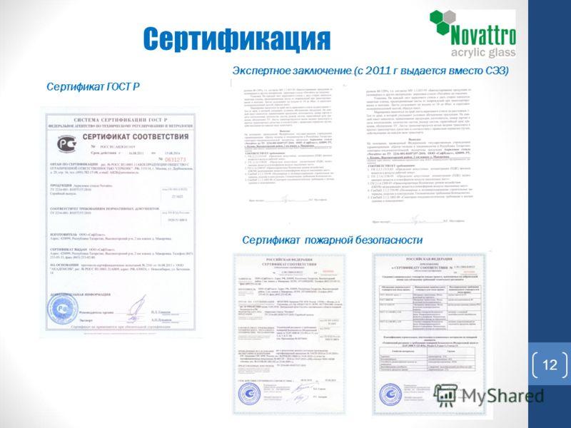 Сертификация Сертификат пожарной безопасности Экспертное заключение (с 2011 г выдается вместо СЭЗ) Сертификат ГОСТ Р 12