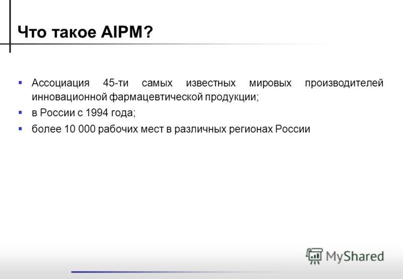 Что такое AIPM? Ассоциация 45-ти самых известных мировых производителей инновационной фармацевтической продукции; в России с 1994 года; более 10 000 рабочих мест в различных регионах России
