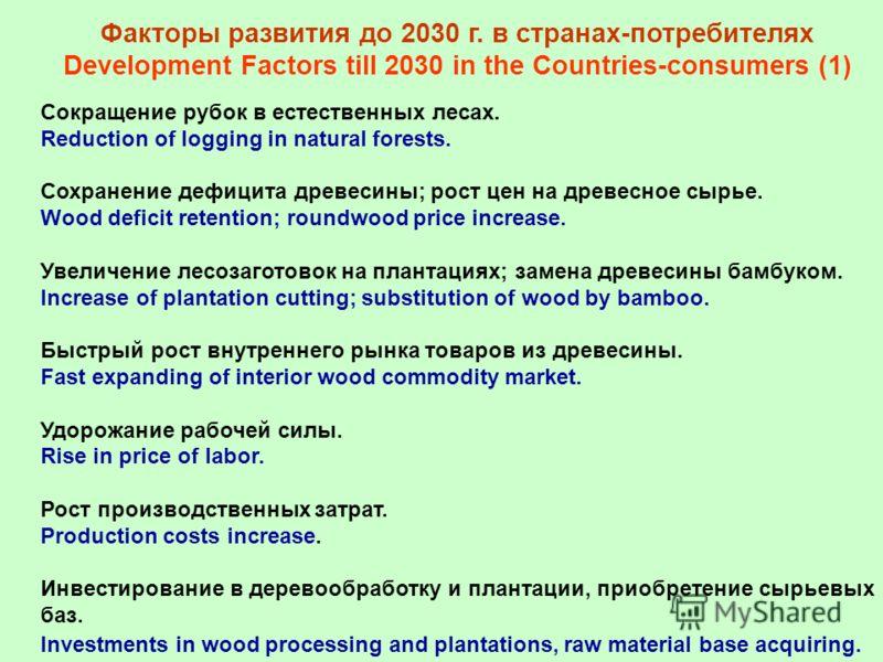 Факторы развития до 2030 г. в странах-потребителях Development Factors till 2030 in the Countries-consumers (1) Сокращение рубок в естественных лесах. Reduction of logging in natural forests. Сохранение дефицита древесины; рост цен на древесное сырье