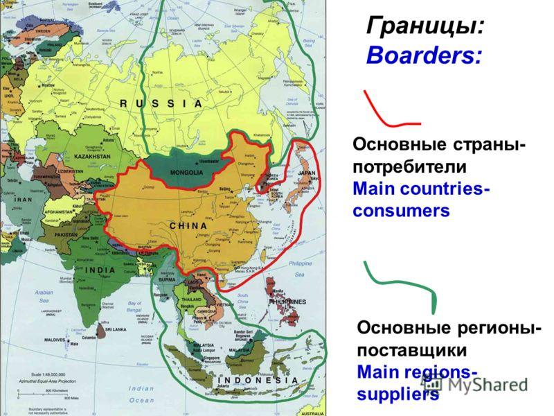 Основные страны- потребители Main countries- consumers Границы: Boarders: Основные регионы- поставщики Main regions- suppliers