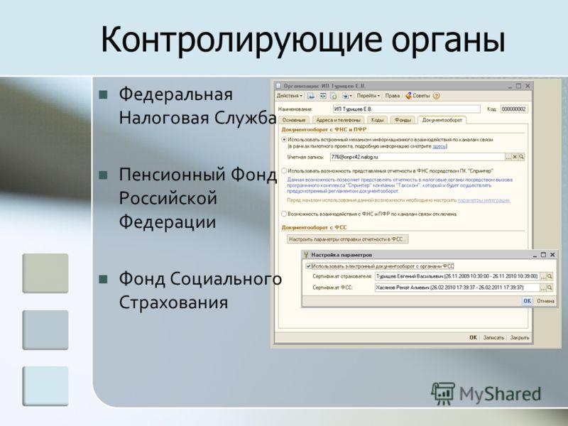 Контролирующие органы Федеральная Налоговая Служба Пенсионный Фонд Российской Федерации Фонд Социального Страхования