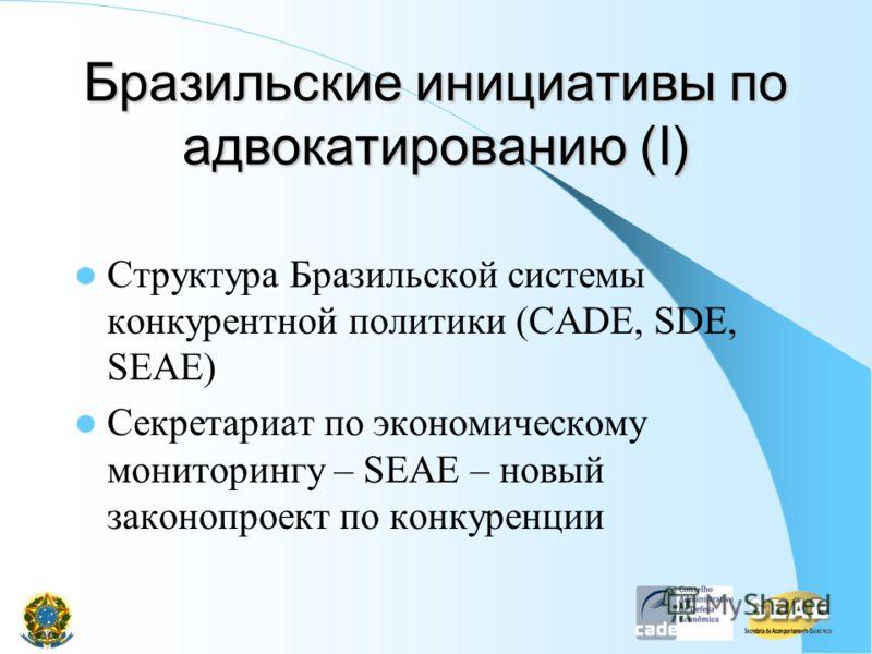 Бразильские инициативы по адвокатированию (I) Структура Бразильской системы конкурентной политики (CADE, SDE, SEAE) Секретариат по экономическому мониторингу – SEAE – новый законопроект по конкуренции