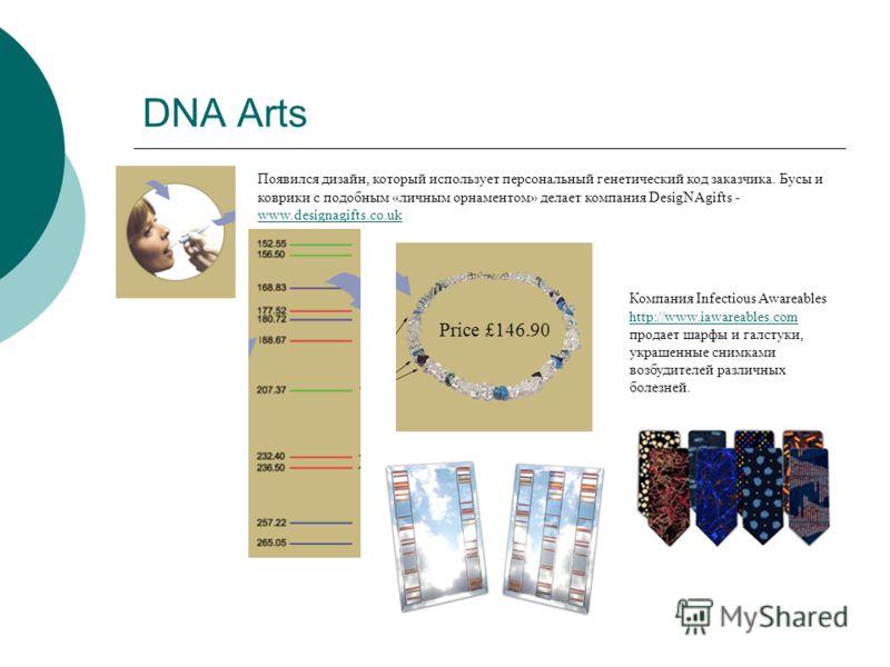 DNA Arts Появился дизайн, который использует персональный генетический код заказчика. Бусы и коврики с подобным «личным орнаментом» делает компания DesigNAgifts - www.designagifts.co.uk www.designagifts.co.uk Price £146.90 Компания Infectious Awareab