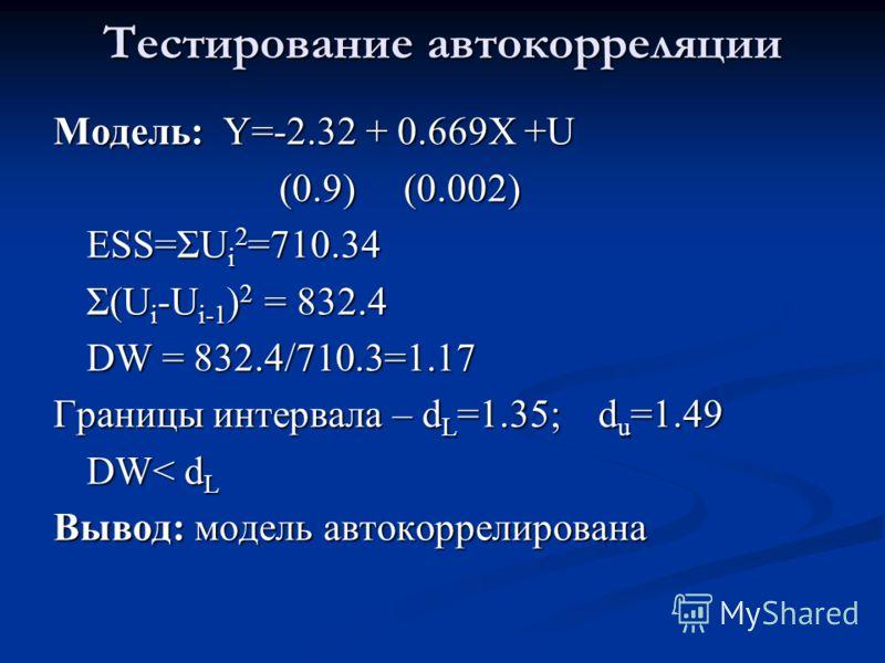 Тестирование автокорреляции Модель: Y=-2.32 + 0.669X +U (0.9) (0.002) (0.9) (0.002) ESS=ΣU i 2 =710.34 Σ(U i -U i-1 ) 2 = 832.4 DW = 832.4/710.3=1.17 Границы интервала – d L =1.35; d u =1.49 DW< d L Вывод: модель автокоррелирована