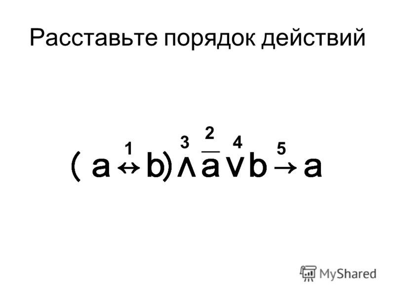 Приоритетность логических операций 1.Скобки 2.Инверсия 3.Конъюнкция 4.Дизъюнкция, исключающее ИЛИ 5.Импликация 6.Эквиваленция