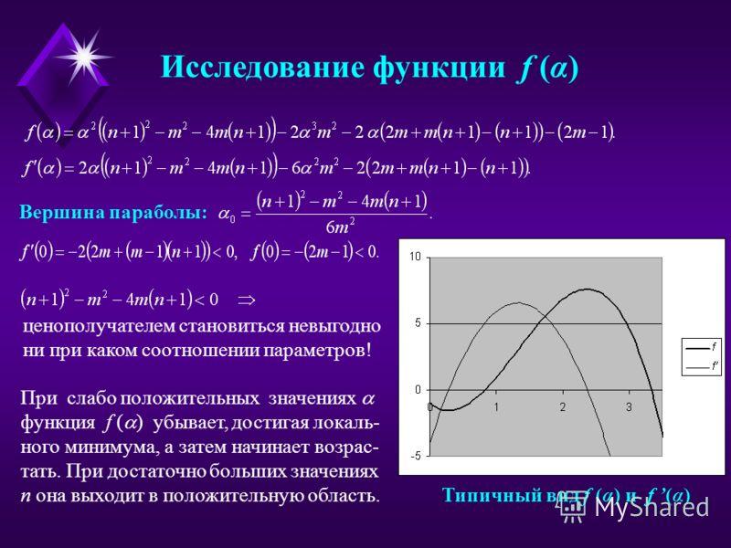 Исследование функции f (α) Вершина параболы: Типичный вид f (α) и f (α) ценополучателем становиться невыгодно ни при каком соотношении параметров! При слабо положительных значениях функция f ( ) убывает, достигая локаль- ного минимума, а затем начина