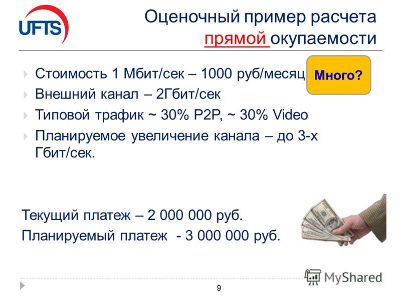 Оценочный пример расчета прямой окупаемости Стоимость 1 Мбит/сек – 1000 руб/месяц Внешний канал – 2Гбит/сек Типовой трафик ~ 30% P2P, ~ 30% Video Планируемое увеличение канала – до 3-х Гбит/сек. 9 Текущий платеж – 2 000 000 руб. Планируемый платеж -