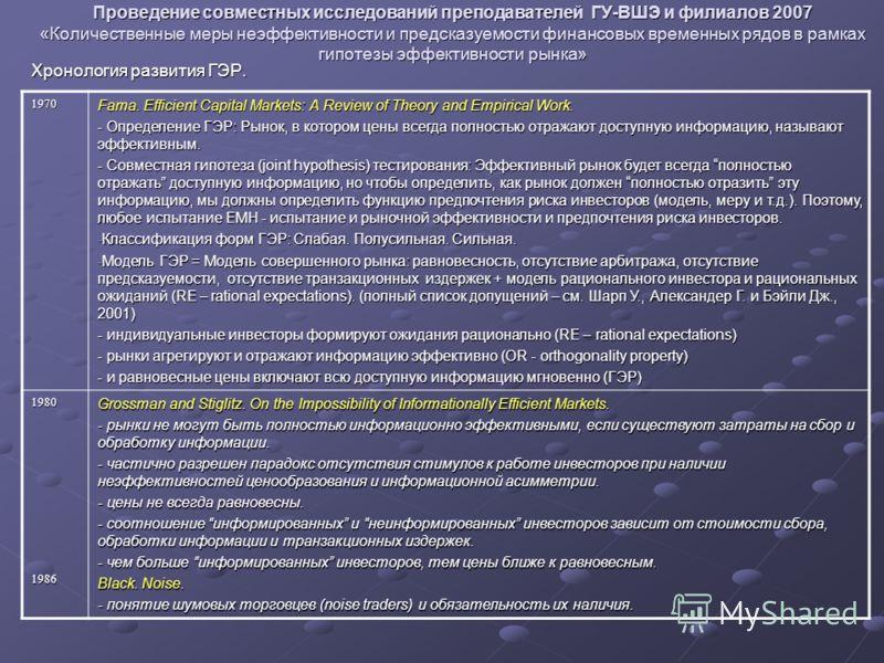 Проведение совместных исследований преподавателей ГУ-ВШЭ и филиалов 2007 «Количественные меры неэффективности и предсказуемости финансовых временных рядов в рамках гипотезы эффективности рынка» Хронология развития ГЭР. 1970 Fama. Efficient Capital Ma