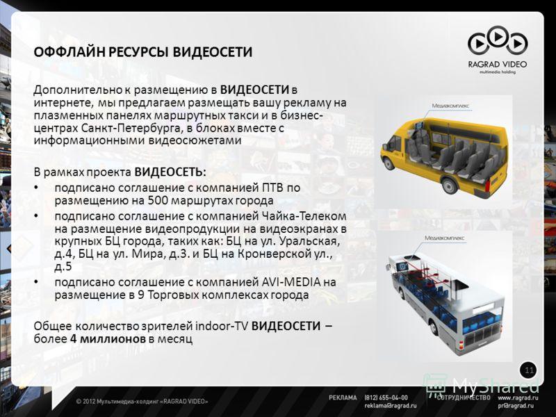ОФФЛАЙН РЕСУРСЫ ВИДЕОСЕТИ Дополнительно к размещению в ВИДЕОСЕТИ в интернете, мы предлагаем размещать вашу рекламу на плазменных панелях маршрутных такси и в бизнес- центрах Санкт-Петербурга, в блоках вместе с информационными видеосюжетами В рамках п