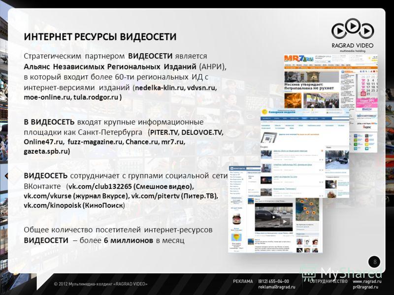 ИНТЕРНЕТ РЕСУРСЫ ВИДЕОСЕТИ Стратегическим партнером ВИДЕОСЕТИ является Альянс Независимых Региональных Изданий (АНРИ), в который входит более 60-ти региональных ИД с интернет-версиями изданий (nedelka-klin.ru, vdvsn.ru, moe-online.ru, tula.rodgor.ru