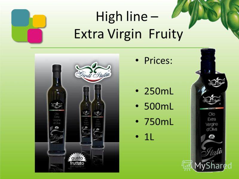 High line – Gusti Italia Это исключительно и только девственное оливковое масло -100% из оливок итальянского происхождения, в частности, из нашей области Апулия, лучшей в Италии по урожайности оливок. Вкус фруктовый насыщенный, но не агрессивный. Гот