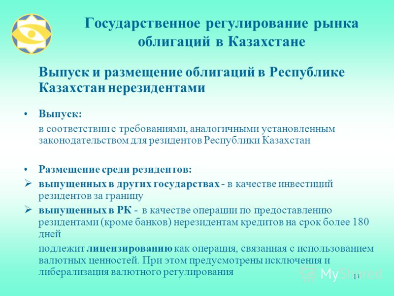 11 Государственное регулирование рынка облигаций в Казахстане Выпуск и размещение облигаций в Республике Казахстан нерезидентами Выпуск: в соответствии с требованиями, аналогичными установленным законодательством для резидентов Республики Казахстан Р