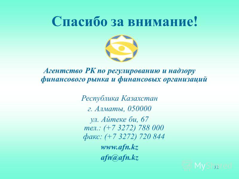 32 Агентство РК по регулированию и надзору финансового рынка и финансовых организаций Республика Казахстан г. Алматы, 050000 ул. Айтеке би, 67 тел.: (+7 3272) 788 000 факс: (+7 3272) 720 844 www.afn.kz afn@afn.kz Спасибо за внимание!