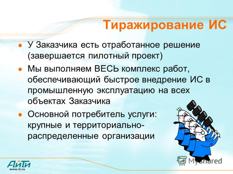 www.it.ru Тиражирование ИС У Заказчика есть отработанное решение (завершается пилотный проект) Мы выполняем ВЕСЬ комплекс работ, обеспечивающий быстрое внедрение ИС в промышленную эксплуатацию на всех объектах Заказчика Основной потребитель услуги: к