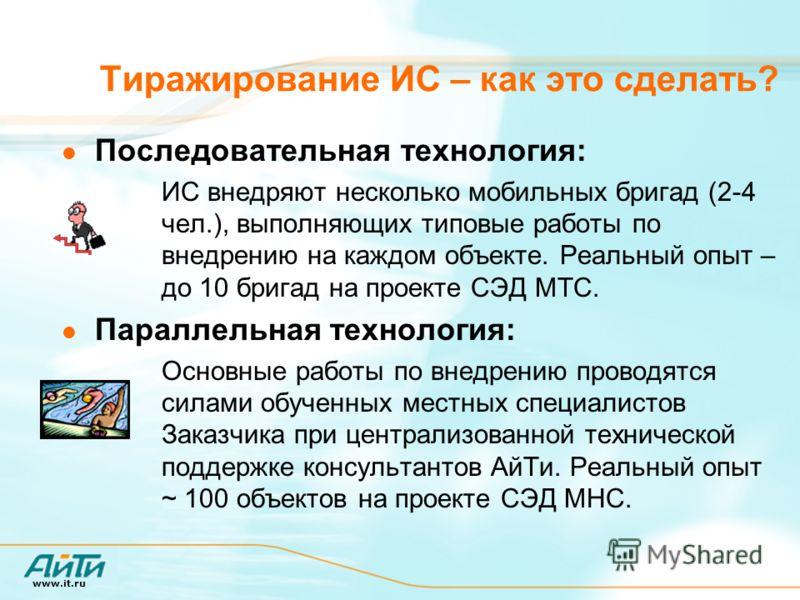 www.it.ru Тиражирование ИС – как это сделать? Последовательная технология: ИС внедряют несколько мобильных бригад (2-4 чел.), выполняющих типовые работы по внедрению на каждом объекте. Реальный опыт – до 10 бригад на проекте СЭД МТС. Параллельная тех