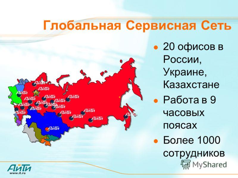 www.it.ru Глобальная Сервисная Сеть 20 офисов в России, Украине, Казахстане Работа в 9 часовых поясах Более 1000 сотрудников